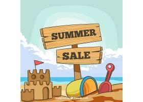 夏季促销背景可看到海滩景观_2306472