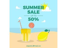 夏季促销背景带扁平风格的海滩景观_2181448