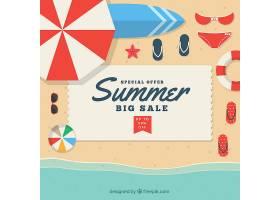 夏季促销背景平面式海滩俯瞰_2181452