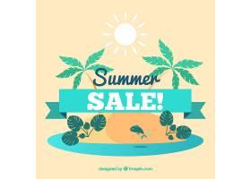 夏季促销背景有海岛和棕榈树_2245363