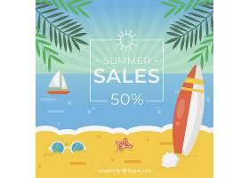 夏季促销背景海滩为平坦风格_2181457