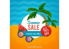 夏季促销背景海滩为平坦风格_2199944