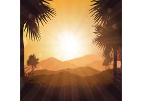 在夕阳天空的映衬下的热带风光_1116782