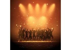 在星光灿烂的背景下跳舞的派对人士的剪影_897799