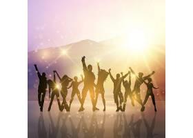 在星光闪耀的背景下跳舞的派对上的人的剪影_899810