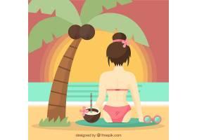 在海滩上享受的女孩_1122091