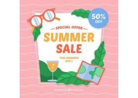 具有海滩元素的夏季销售背景_2306435