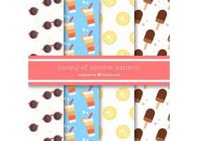 包装冰激凌图案和太阳镜为扁平设计_1112202