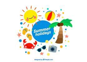 可爱的手绘夏日元素背景_891928