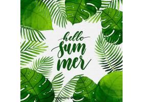 你好夏日背景水彩画风格的植物_2141501