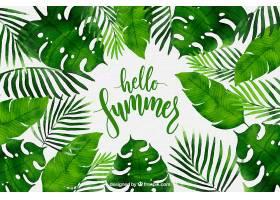 你好夏日背景水彩画风格的植物_2141511
