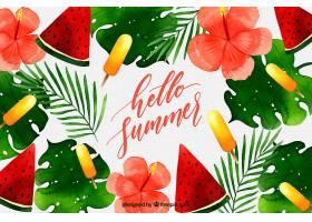 你好夏日背景水彩画风格的西瓜和冰激凌_2141502