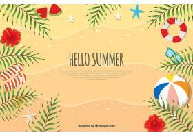 你好夏日背景沙子和元素_2218978