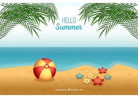 你好夏日背景海滩写实风格_2140677