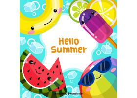 你好夏日背景配上可爱的卡通_2181210