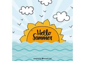 你好有阳光和大海的夏日背景_2145923