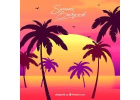 以棕榈树和日落为背景的夏日_2353141