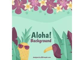 以热带菠萝为背景配上太阳镜和巨嘴鸟_1188069