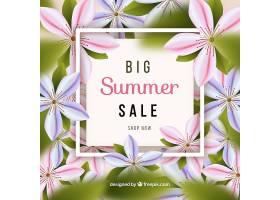 以现实主义风格的鲜花为背景的夏季销售_2205542