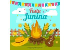 以篝火和元素为背景的菲斯塔朱尼娜Festa_2202558