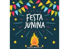 以篝火和星星为背景的费斯塔朱尼娜Festa_1125493