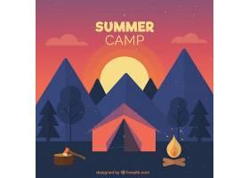 以美丽的日落为背景的夏令营_2217298