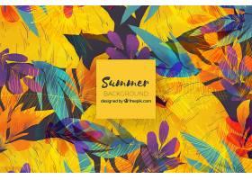以美丽的热带树叶为背景的水彩画_2229777