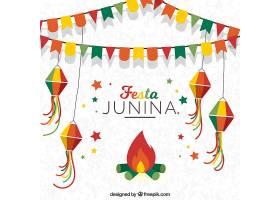 以装饰和篝火为背景的JESTA JUNINA_1125108