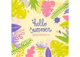 你好夏天的背景五颜六色的植物和鲜花_2143917