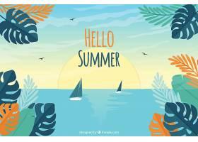 你好夏天的背景五颜六色的植物和鲜花_2143920