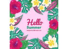 你好夏天的背景五颜六色的植物和鲜花_2143921