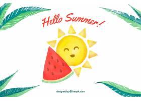 你好夏天的背景可爱的太阳和水彩式的西_2141516