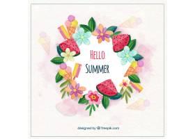 你好夏天的背景有鲜花和食物_2181323