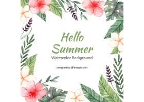 你好夏季背景水彩画风格的五颜六色的花_2141522