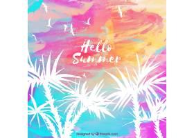 你好夏季背景水彩画风格的棕榈树_2141517