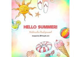 你好夏季背景水彩画风格的海滩元素_2196119