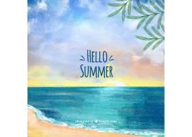 你好夏季背景水彩画风格的海滩景观_2181326