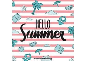 你好夏日背景有海滩元素_2145930