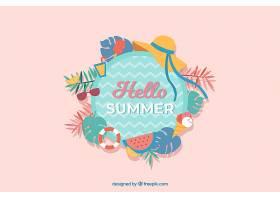 你好夏日背景有海滩元素_2218968
