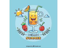 你好夏日背景有饮料卡通和水果_2141713