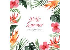 你好夏日背景水彩画风格的不同类型的花_2141524