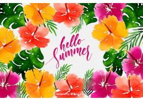 你好夏日背景水彩画风格的五颜六色的花_2141510