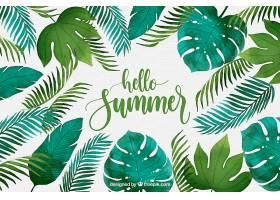 你好夏日背景水彩画风格的植物_2141500