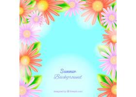 你好夏日背景与逼真的花朵_2353611