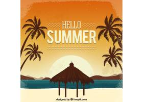 你好夏日背景复古风格的海滩_2140571