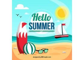 你好夏日背景带海滩_2181208