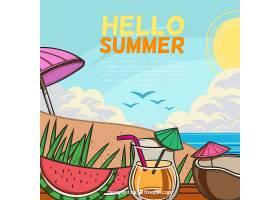 你好夏日背景带海滩_2306468