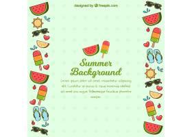 你好夏日背景平坦风格的海滩元素_2245478