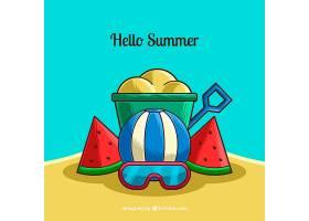 你好夏日背景有海滩元素_2141603