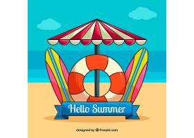 你好夏日背景有海滩元素_2141604